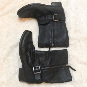 Vince Camuto Shada Black Leather Short Zip Up Boot